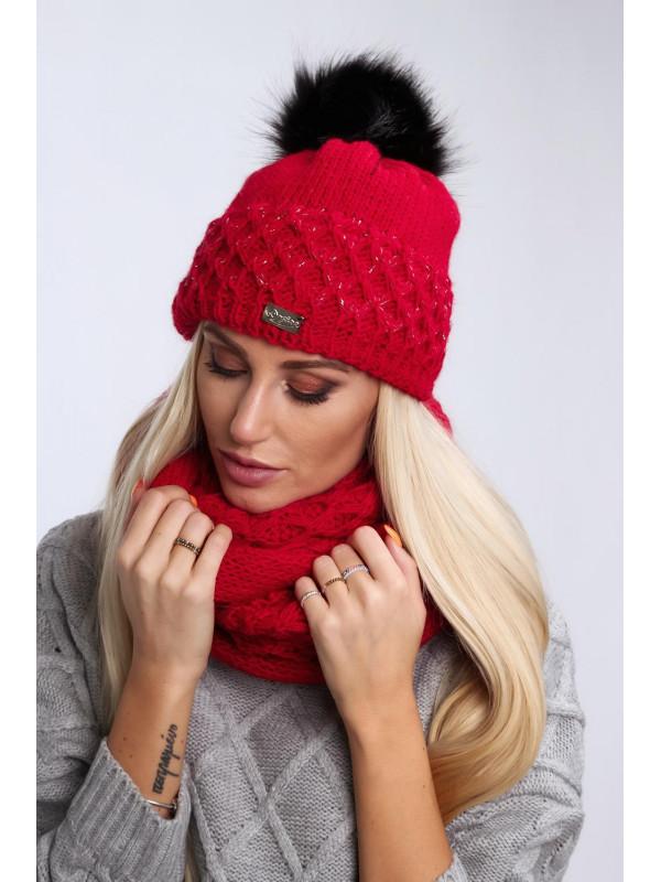 816696e86 Červený dámsky set čiapka + šál C24 - Dámske čiapky - Locca.sk