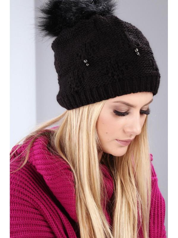 229fc0381 Čierna dámska zimná čiapka C8 - Dámske čiapky - Locca.sk