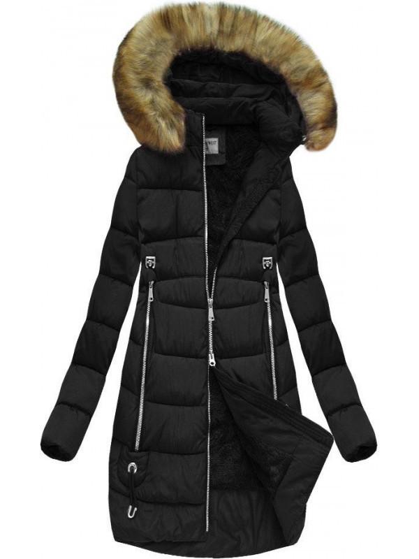 Čierna zimná bunda s kapucňou B3577 - Dámske bundy - Locca.sk c7f282173a6
