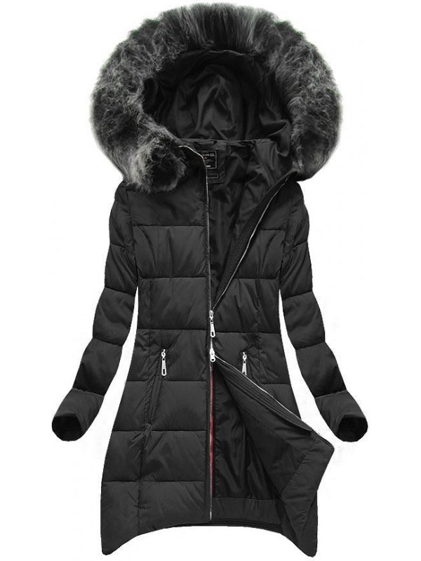 Čierna zimná bunda s predĺženými bokmi (6788) - Dámske bundy - Locca.sk 7a916704be2