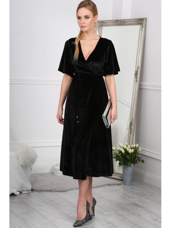 e1bbd3f67 Čierne elegantné šaty s prekladaným topom - Dámske topy - Locca.sk