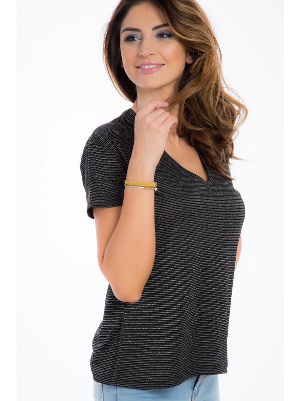 0c3e431293a8 Čierné klasické tričko s výstrihom - Dámske tričká - Locca.sk
