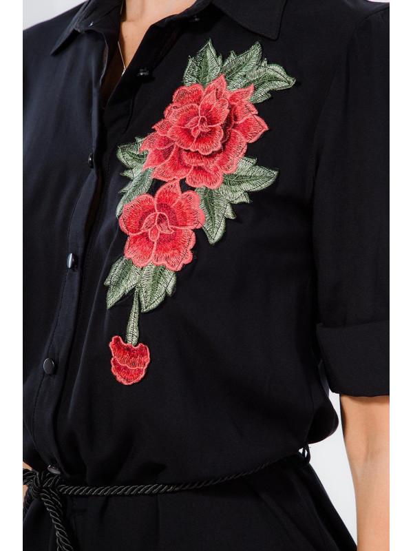 Čierne mini šaty s nášivkou - Dámske ležérne šaty - Locca.sk ae067c9d823