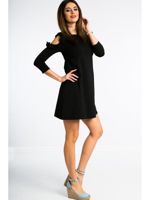 Čierne šaty nad kolená - Dámske ležérne šaty - Locca.sk f809d3ab87c