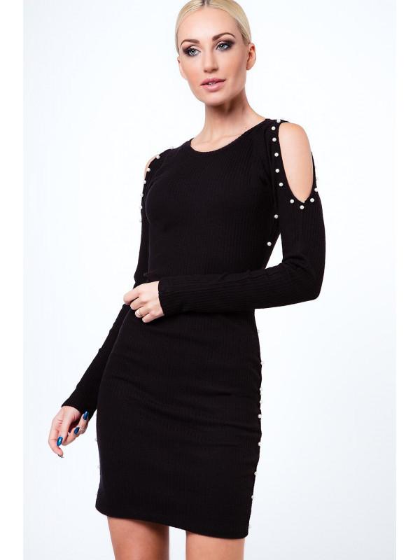 a4782a14ebbf Čierne šaty s odhalenými ramenami 6647 - Dámske elegantné šaty ...