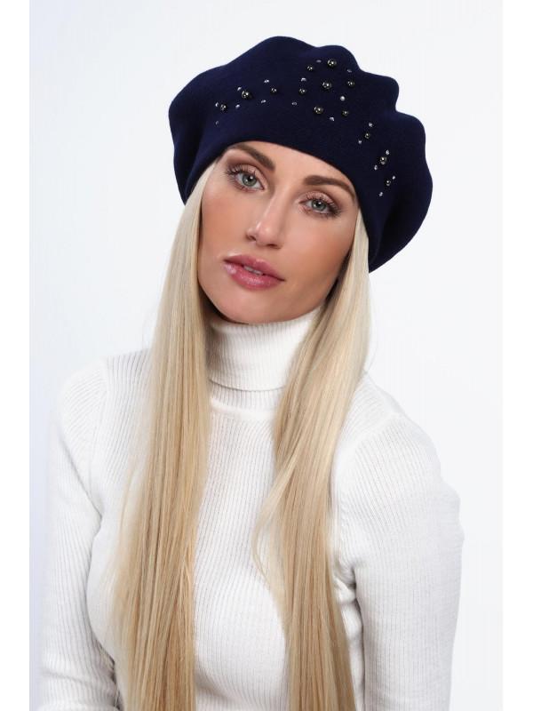 ae5620861 Dámska baretka na zimu C26, tmavo modrá - Dámske čiapky - Locca.sk