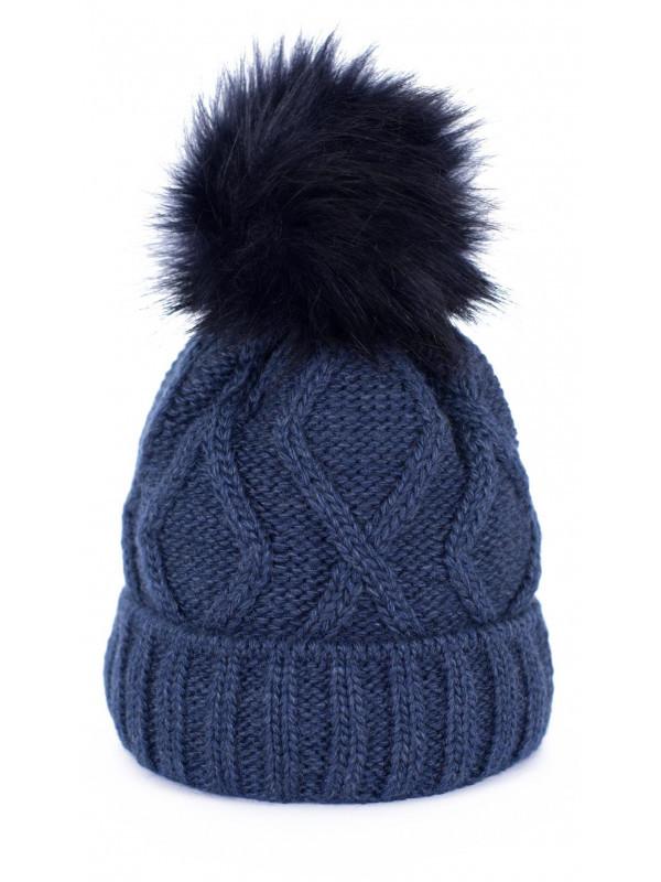 9a4237f20 Dámska čiapka s brmbolcom, modrá - Dámske čiapky - Locca.sk