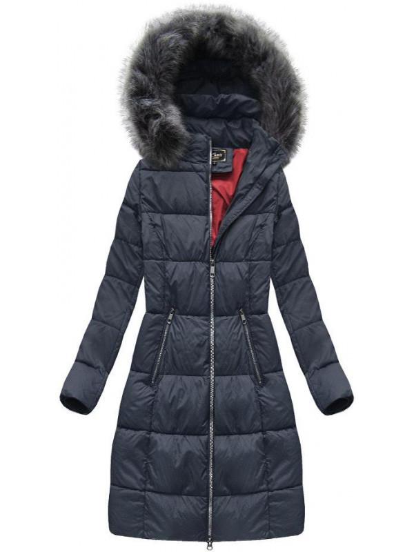 8363c2722 Dámska dlhá zimná bunda 7701, modrá - Dámske bundy - Locca.sk