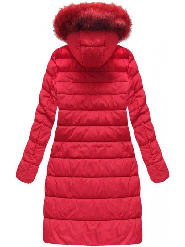 Dámska dlhá zimná bunda 7754BIG, červená