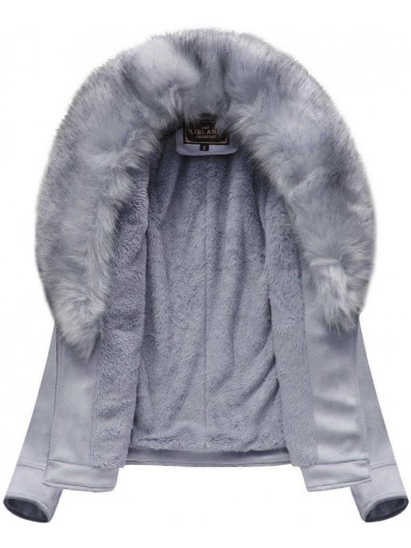 Dámska semišová bunda s kožúškom 6502BIG, fialová