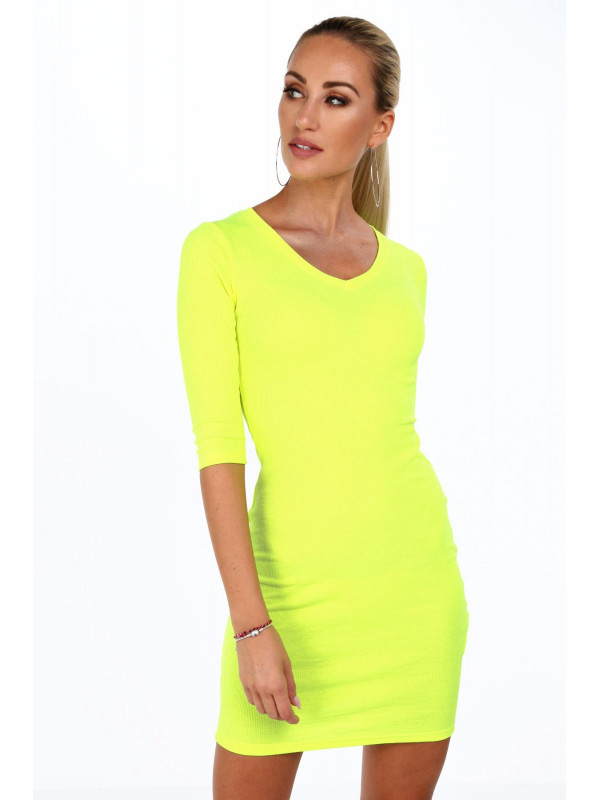 3830d9ec4 Dámske bavlnené šaty 2093, neónovo žlté - Mini šaty - Locca.sk
