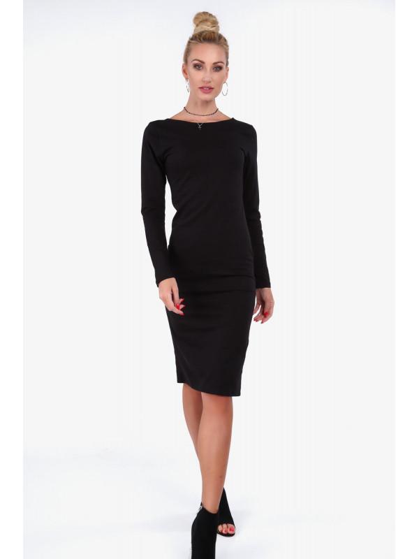 a2b029538e32 Dámske čierne midi šaty 40550 - Spoločenské šaty krátke - Locca.sk