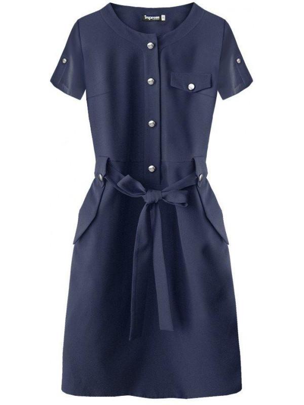 3cee93af4 Dámske elegantné šaty 309ART, tmavomodré - Dámske elegantné šaty ...