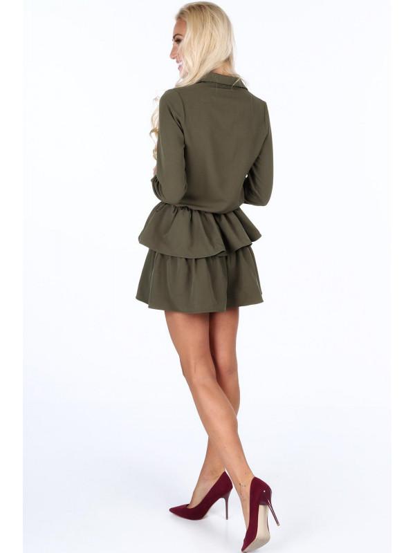 Dámske khaki šaty s volánmi 5055