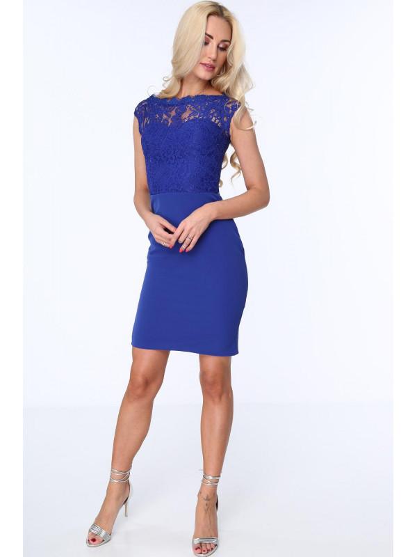 fa74528e7702 Dámske modré šaty s čipkou ZZ169 - Spoločenské šaty krátke - Locca.sk