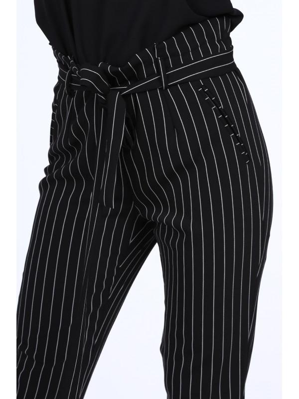 Dámske nohavice s viazaním 22251, čierne