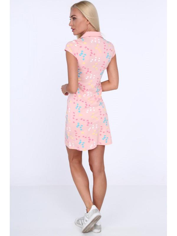 Dámske polo šaty 7690, svetlo ružové
