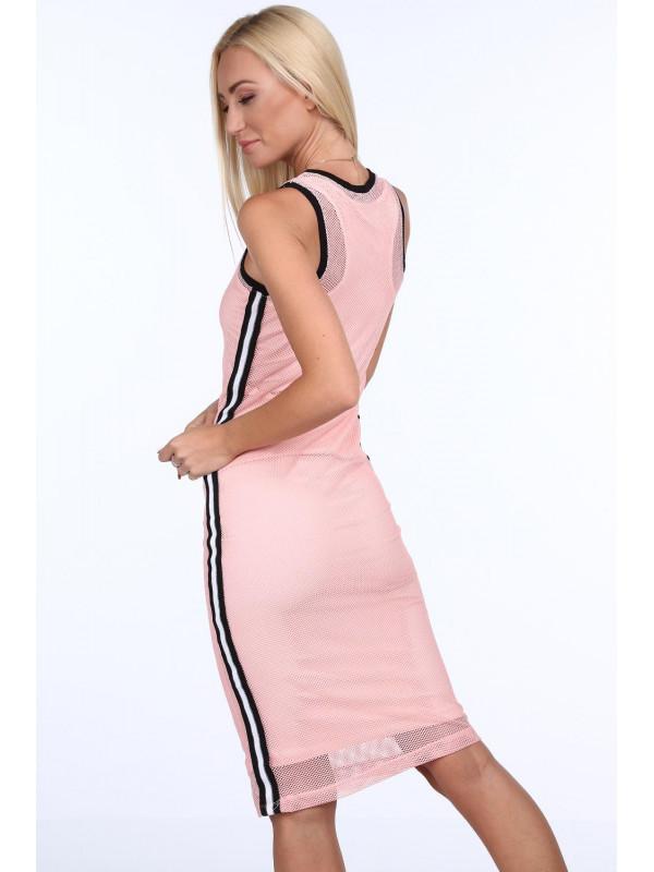 ee9f4b58074a Dámske ružové šaty so sieťkou 3967 - Dámske ležérne šaty - Locca.sk