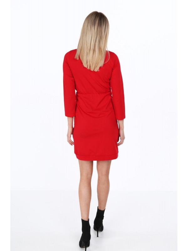 147f11755 Dámske šaty s prekladaným výstrihom 4072, červené - Dámske elegantné ...