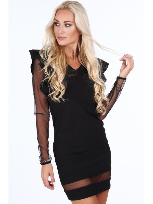 0a47c0b98 Dámske šaty s priehľadnými rukávmi 1834, čierne - Spoločenské šaty ...
