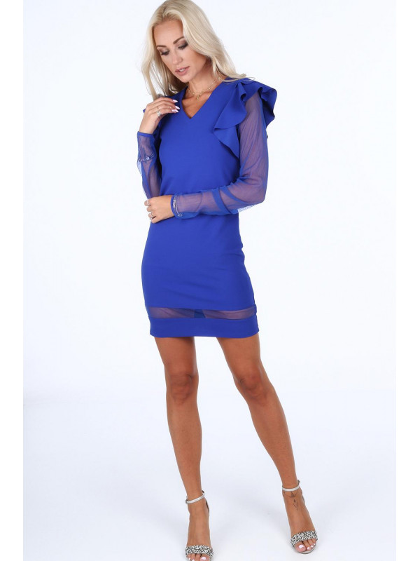 2a1b50029 Dámske šaty s priehľadnými rukávmi 1834, modré - Spoločenské šaty ...