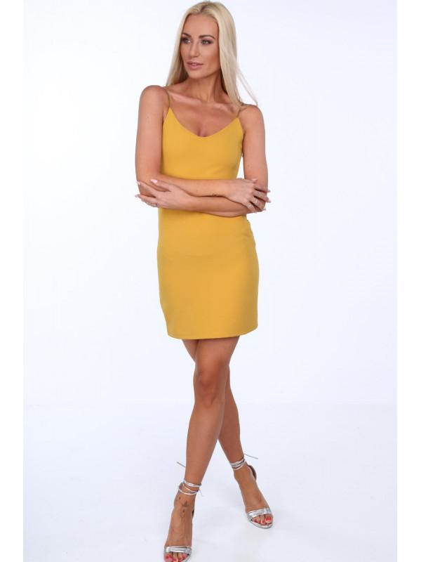 e51fce5d4 Dámske šaty s tenkými ramienkami 22405, žlté - Mini šaty - Locca.sk