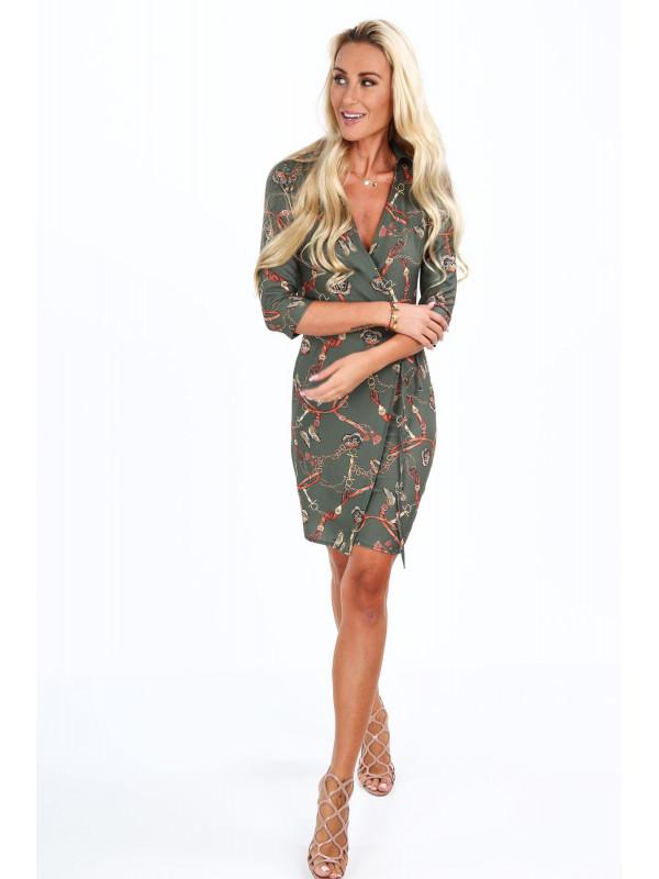 abec694e5261e Dámske šaty s viazaním v páse 2085, khaki - Dámske letné šaty - Locca.sk