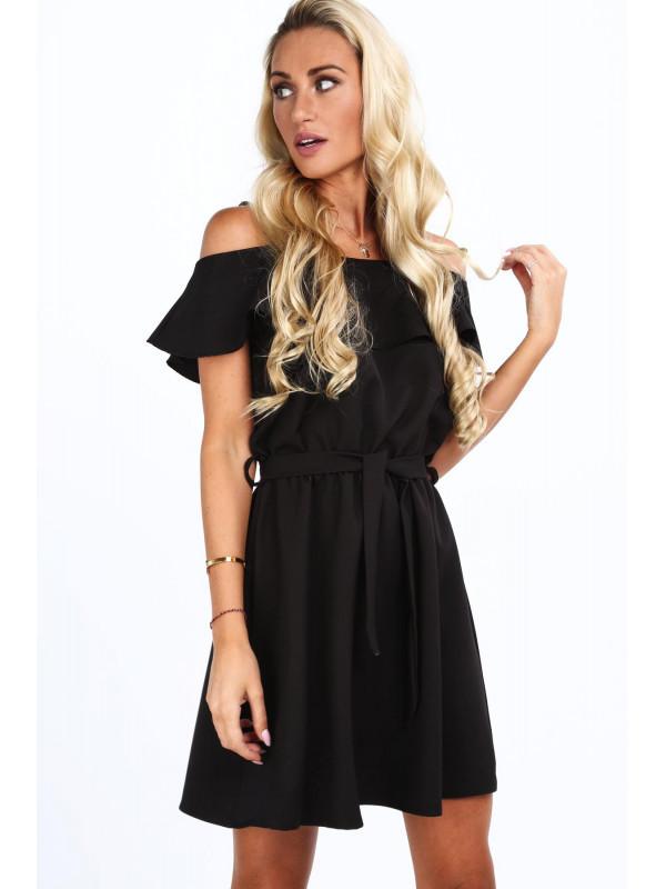 ffde78c037c8a Dámske šaty s volánmi 0261, čierne - Dámske ležérne šaty - Locca.sk