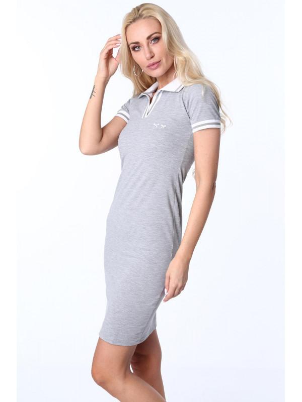 db820f9b5f4d Dámske sivé polo šaty 3810 - Dámske ležérne šaty - Locca.sk