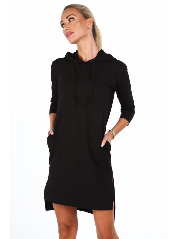 11633da242f2e Dámske športové šaty s kapucňou 4187, čierne - Dámske športové šaty ...