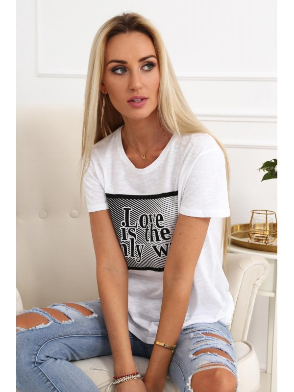 a5397f798563b Dámske tričko s nápisom MP13486, biele - Dámske tričká - Locca.sk