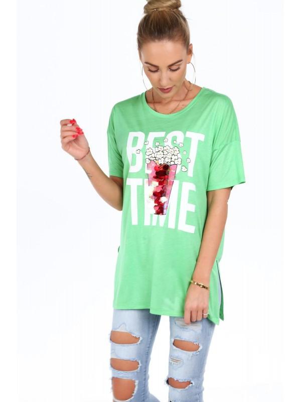 858a4f20cd778 Dámske tričko s nápisom MP13609, zelené - Dámske tričká - Locca.sk