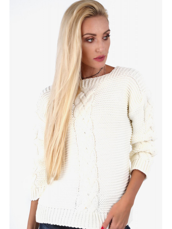 898ead32ba04 Dámsky krémový sveter so vzorom 0235 - Dámske svetre a pulóvre ...
