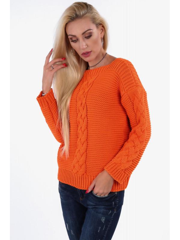 d4181251a622 Dámsky oranžový sveter so vzorom 0235 - Dámske svetre a pulóvre ...