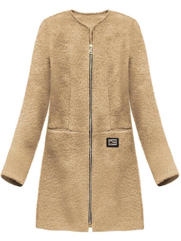 Dámsky prechodný vlnený kabát 22643, béžový