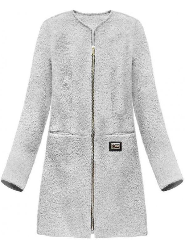 Dámsky prechodný vlnený kabát 22643, sivý