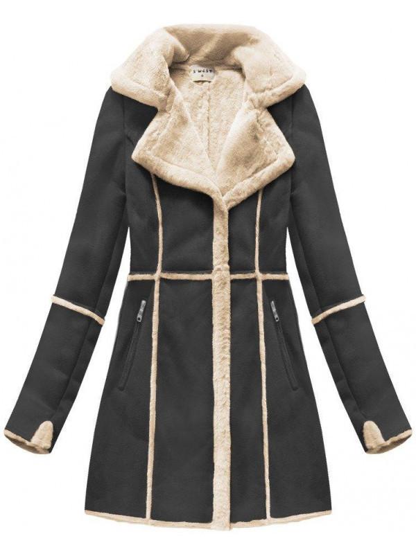 2b904cd2dea46 Dámsky semišový kabát S-1802, čierny - Dámske bundy - Locca.sk