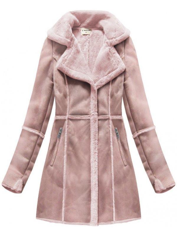 29de75f20 Dámsky semišový kabát S-1802, ružový - Dámske bundy - Locca.sk