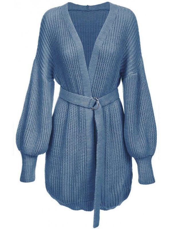 Dámsky sveter s viazaním v páse 123ART, modrý