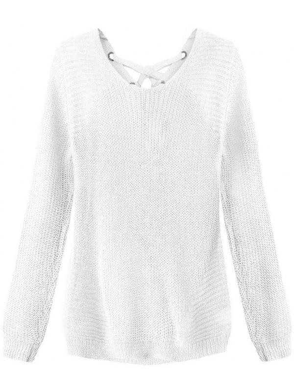 Dámsky sveter so šnurovaním 226ART, biely