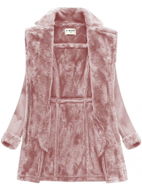 ec0928bab Dámsky teplý semišový kabát 1809, ružový - Dámske bundy - Locca.sk