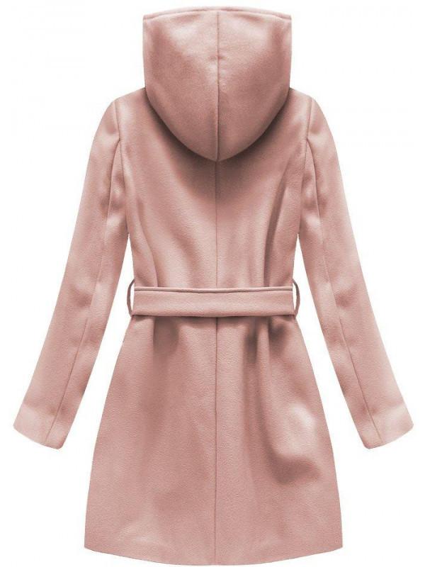 071f3f9b2 Dámsky vlnený prechodný kabát s kapucňou 6798, ružový - Dámske bundy ...