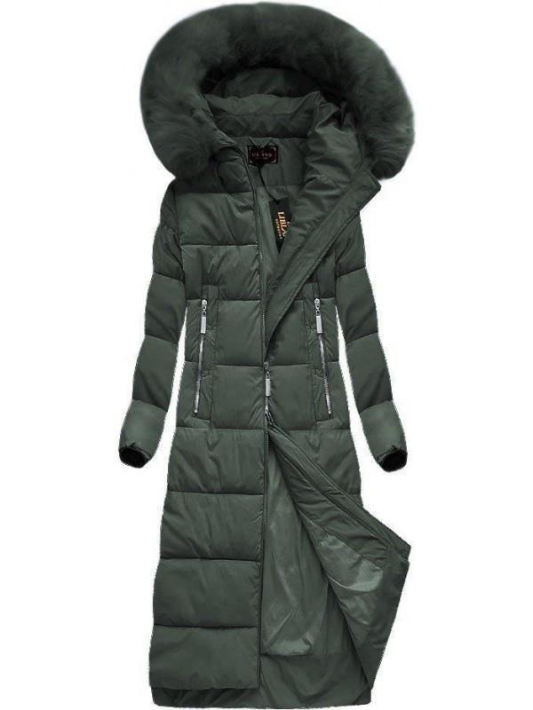 Dlhá zimná bunda s kapucňou a kožušinou 7688 zelená