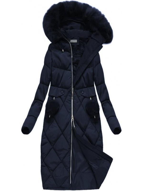 Dlhá zimná bunda, tmavo modrá R3581