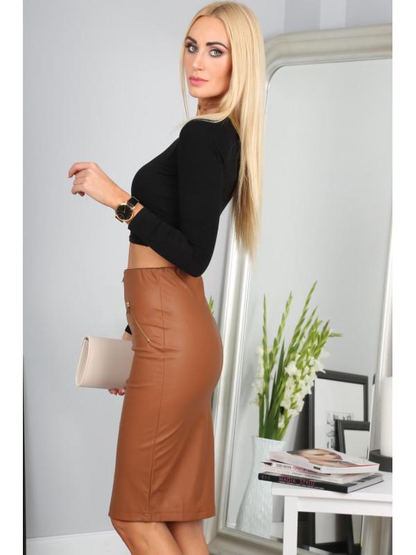 3429648c2754 Hnedá sukňa so zipsom - Elegantné sukne - Locca.sk