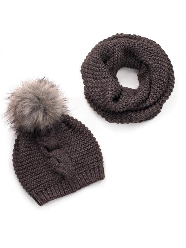 7970d1be5 Hnedý dámsky set čiapka + šál - Dámske čiapky - Locca.sk