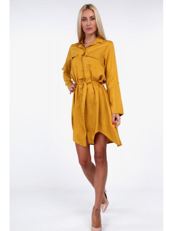 550b70259dc9 Horčicové dámske košeľové šaty 19590 - Dámske elegantné šaty - Locca.sk