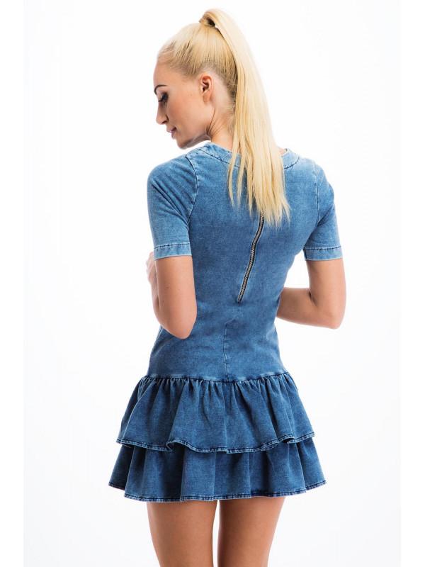 c5c0ab1be4ec Jeansove mini šaty s nariasenou sukňou - Mini šaty - Locca.sk