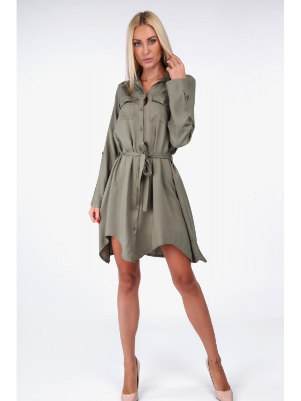 3ccb0c500bca Khaki dámske košeľové šaty 19590 - Dámske elegantné šaty - Locca.sk