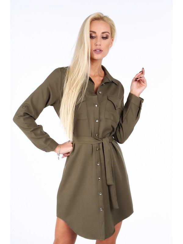 d47c4ff6ac81 Khaki dámske košeľové šaty 5065 - Dámske ležérne šaty - Locca.sk